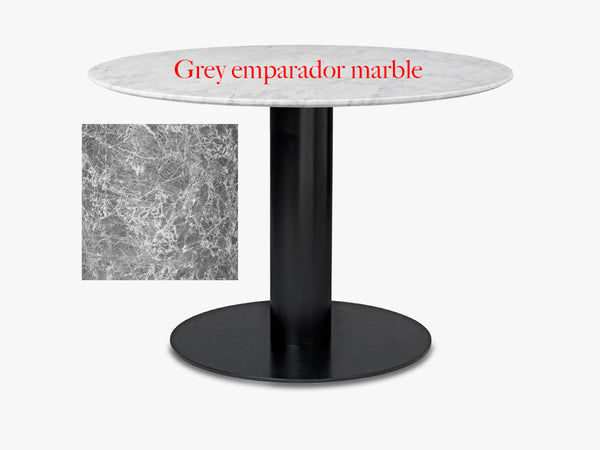 GUBI 2.0 Dining Table - Round - Dia 130, Black base, marble grey top fra GUBI