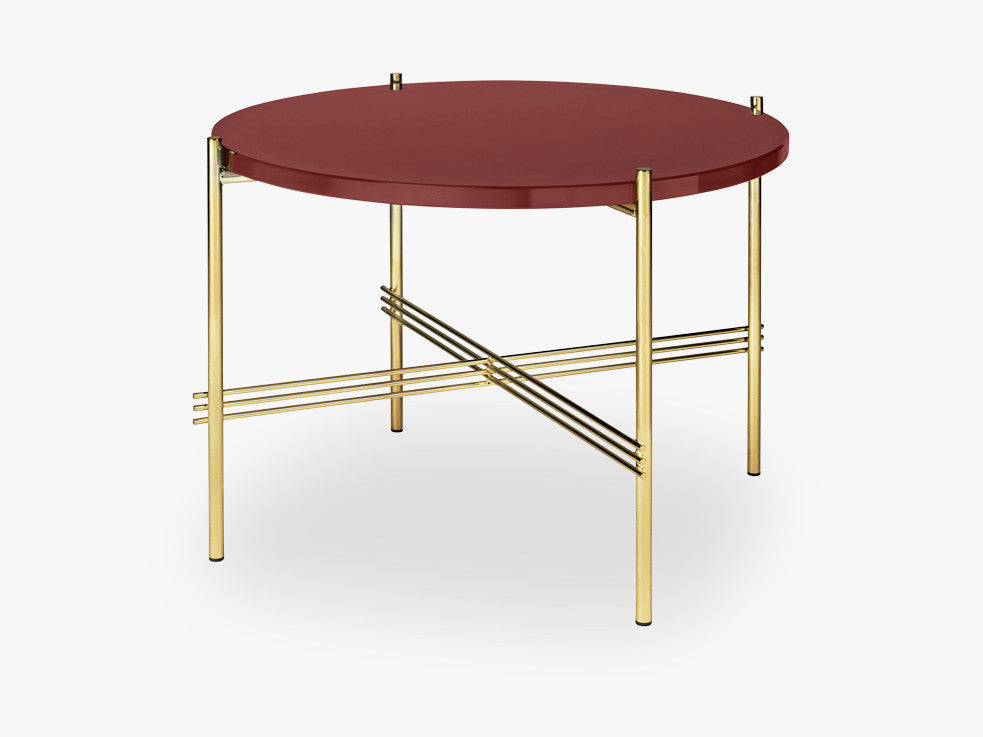 TS Coffee Table - Dia 55 Brass base, glass rusty red top fra GUBI