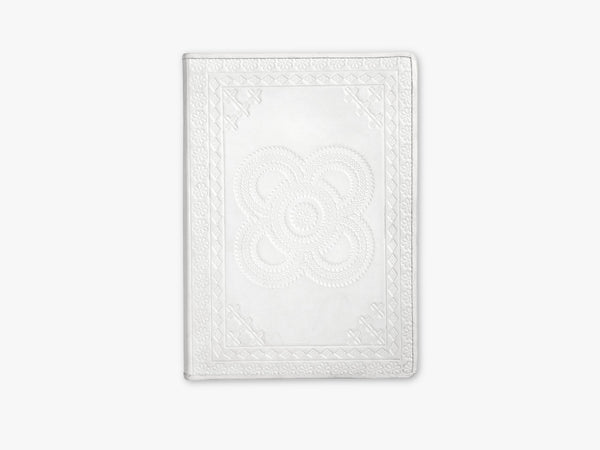 Notebook, embossed leather, white, large fra Nordal