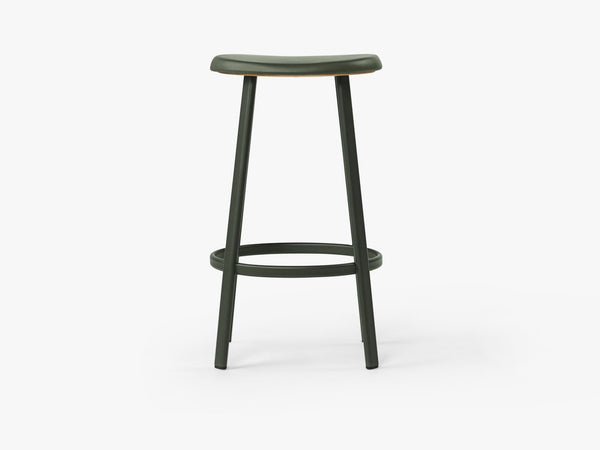 Anno Stool H75, Dark Green/Green Leather fra MILLION