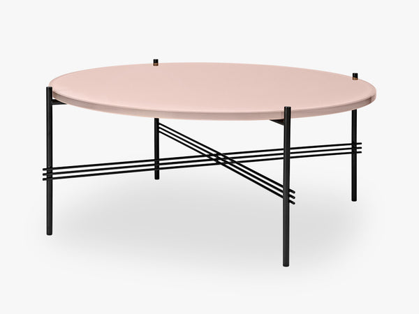 TS Coffee Table - Dia 80 Black base, glass vintage red top fra GUBI