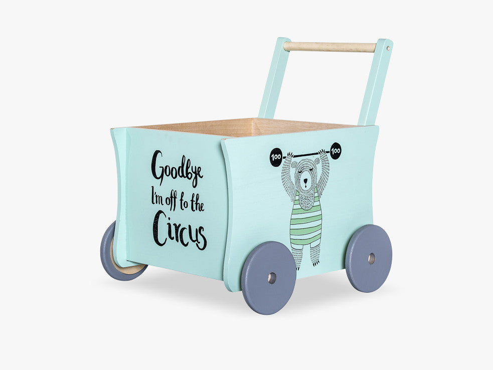 Circus Push Wagon, Mint/Nature fra Bloomingville