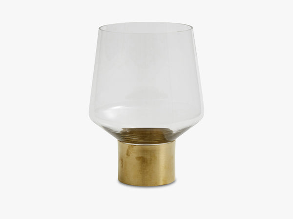 RING deco vase, clear, brass base fra Nordal