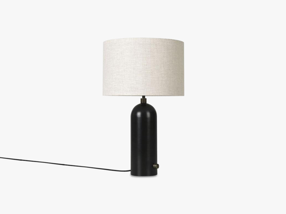 Gravity Table Lamp Small - Blackened Steel base, Canvas shade fra GUBI