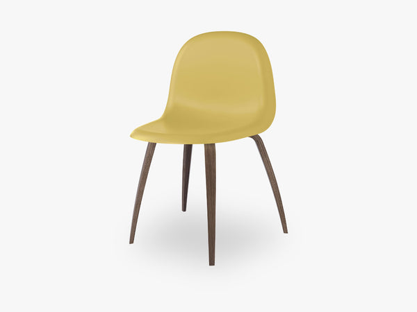 3D Dining Chair - Un-upholstered American Walnut base, Venetian Gold shell fra GUBI