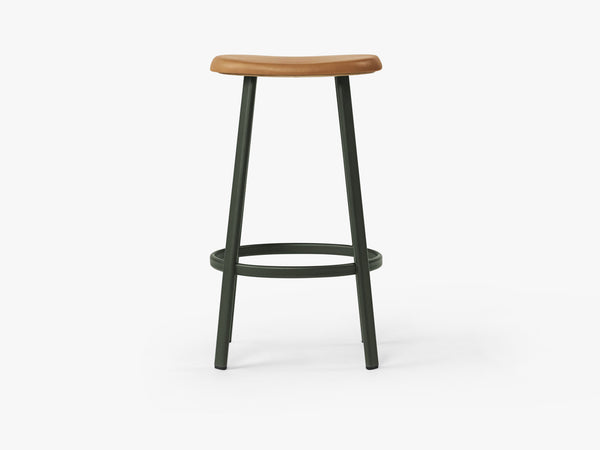 Anno Stool H75, Dark Green/Cognac Leather fra MILLION