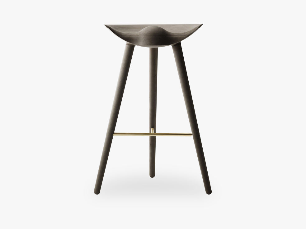 ML 42, bar stool, brown oiled oak / brass fra By Lassen