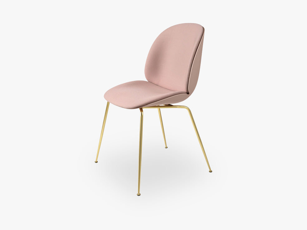 Beetle Dining Chair - Front Upholstered - Conic Brass base - Sweet Pink shell, Kvadrat Steelcut 605 fra GUBI