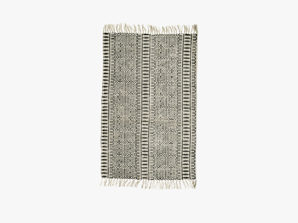 Canvas carpet, print, off white/black fra Nordal
