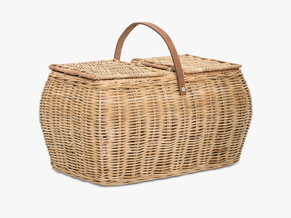 Basket w/Lid, Nature, Rattan fra Bloomingville