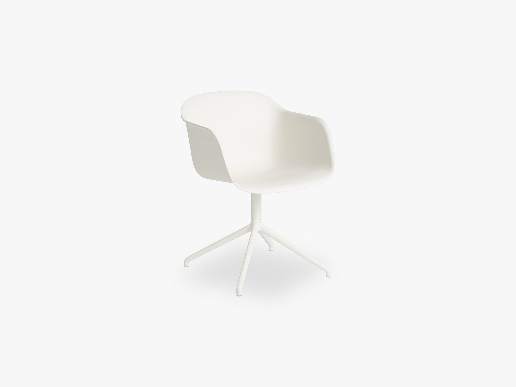 Fiber Armchair - Swivel Base WO Return - Normal Shell, Natural White/White fra Muuto