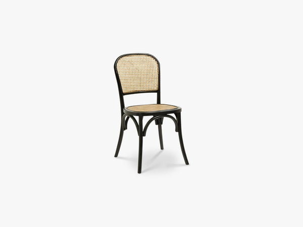 WICKY chair w wickerwork, black fra Nordal