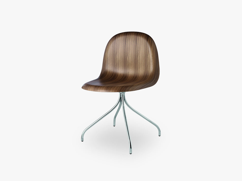 3D Dining Chair - Un-upholstered Swivel Chrome base, American Walnut shell fra GUBI
