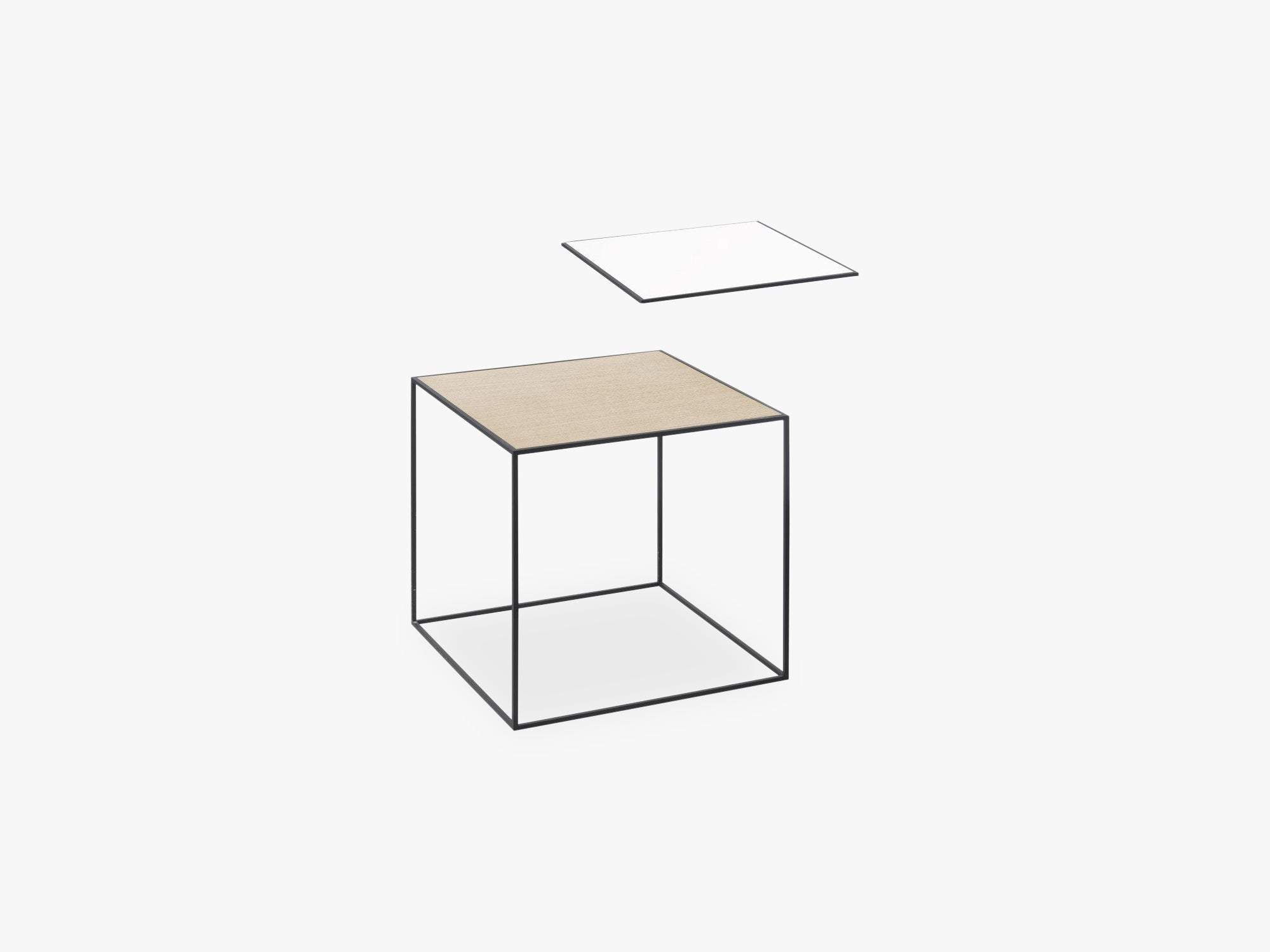 Twin 35 table, black, white/oak fra By Lassen