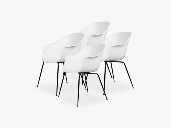 Bat Dining Chair 4 pcs - Conic Black Matt Base, Pure White fra GUBI