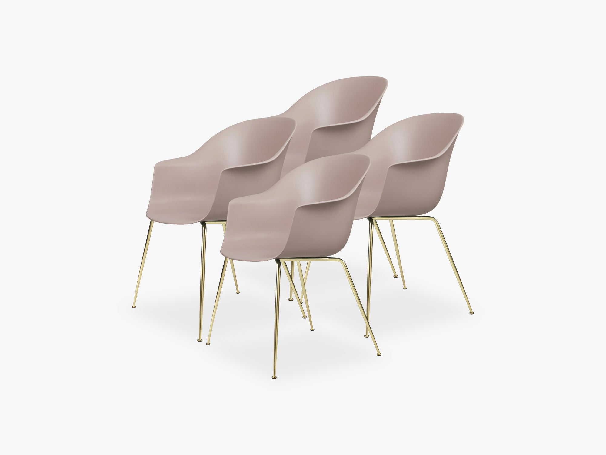 Bat Dining Chair 4 pcs - Conic Brass Semi Matt Base, Sweet Pink fra GUBI
