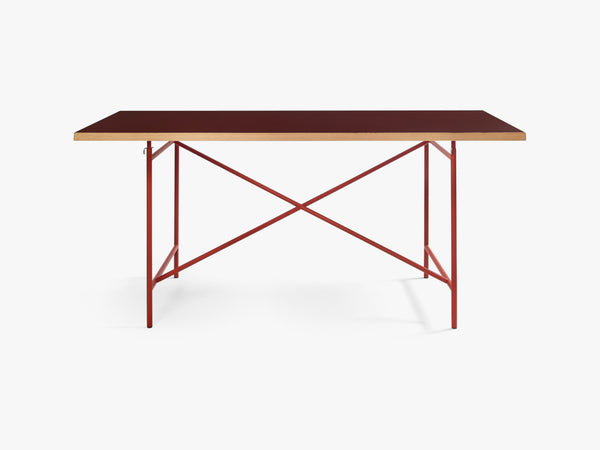 Linoleum Table Top, Burgundy with Oak Edges fra Egon Eiermann