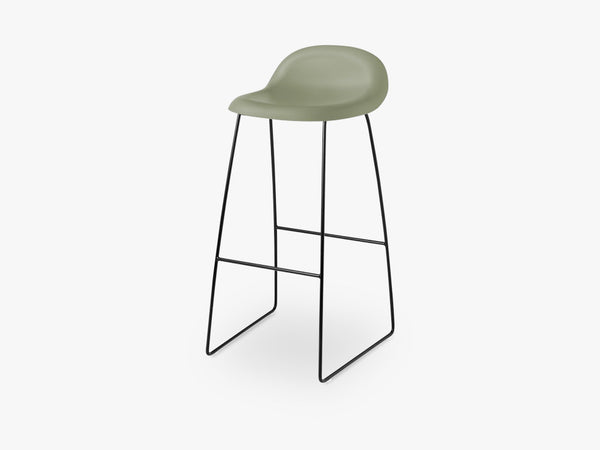 3D Bar Stool - Un-upholstered - 75 cm Sledge Black base, Mistletoe Green shell fra GUBI