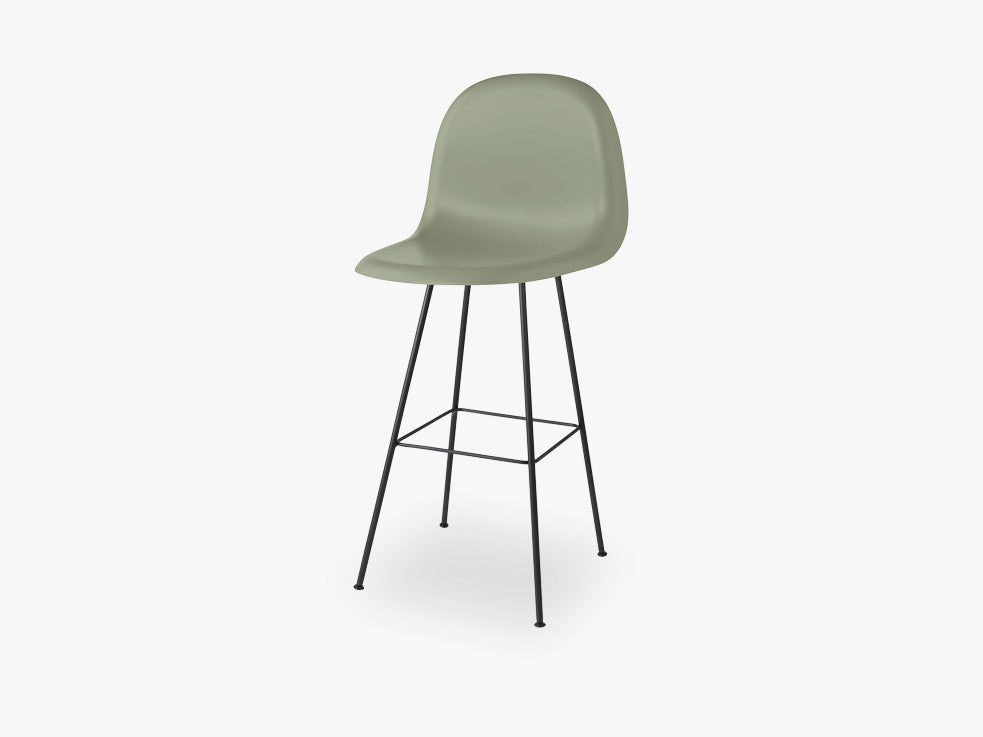 3D Counter Chair - Un-upholstered - 65 cm Center Black base, Mistletoe Green shell fra GUBI