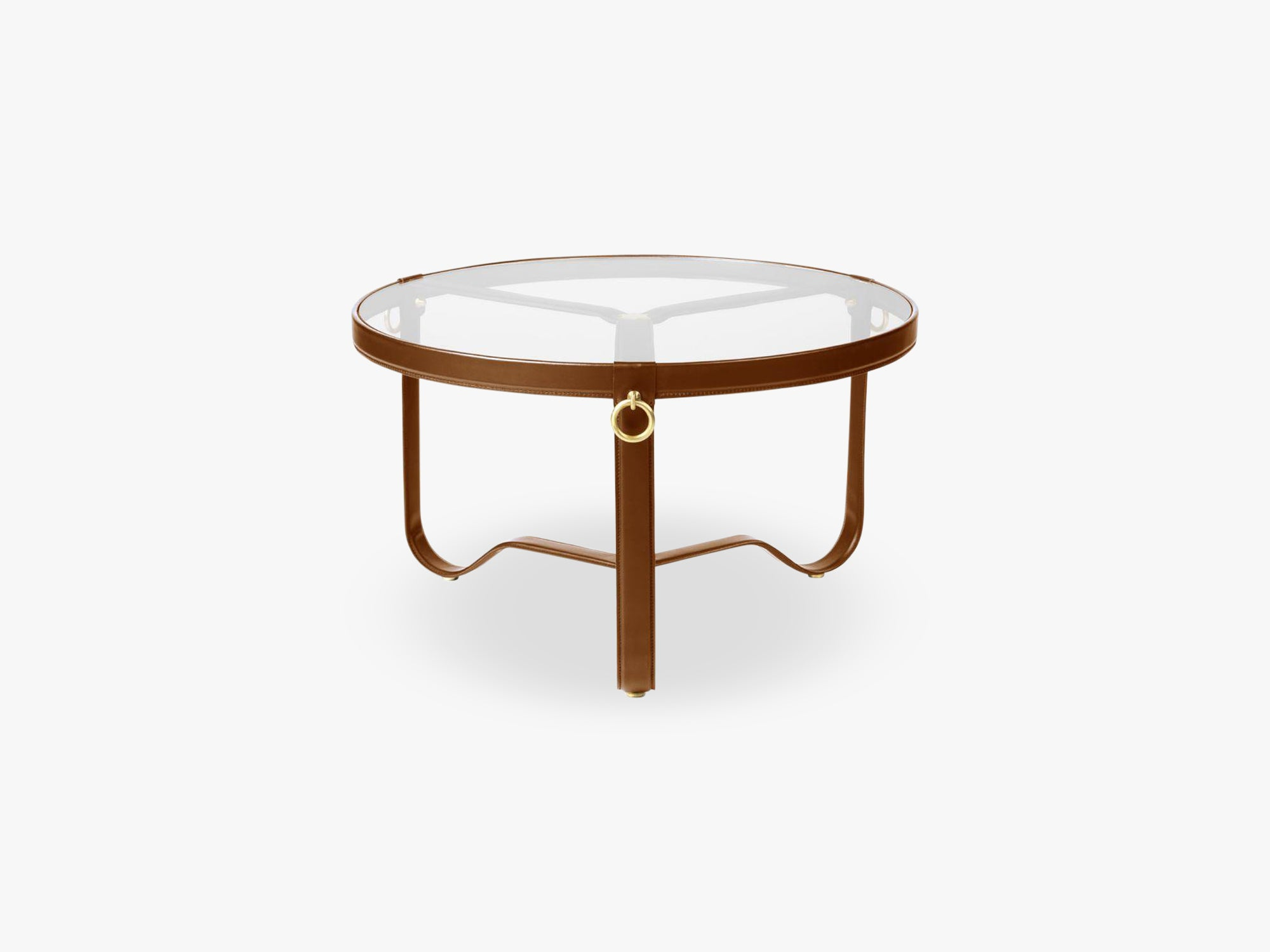 Adnet Coffee Table - Ø70, Tan Leather fra GUBI