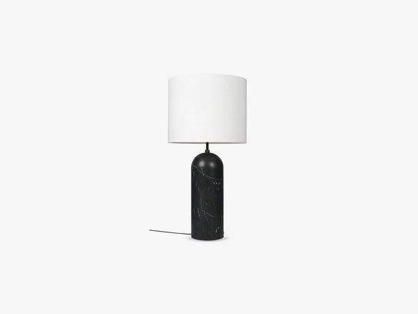 Gravity Floor Lamp - XL Low - Black Marble base, White fra GUBI