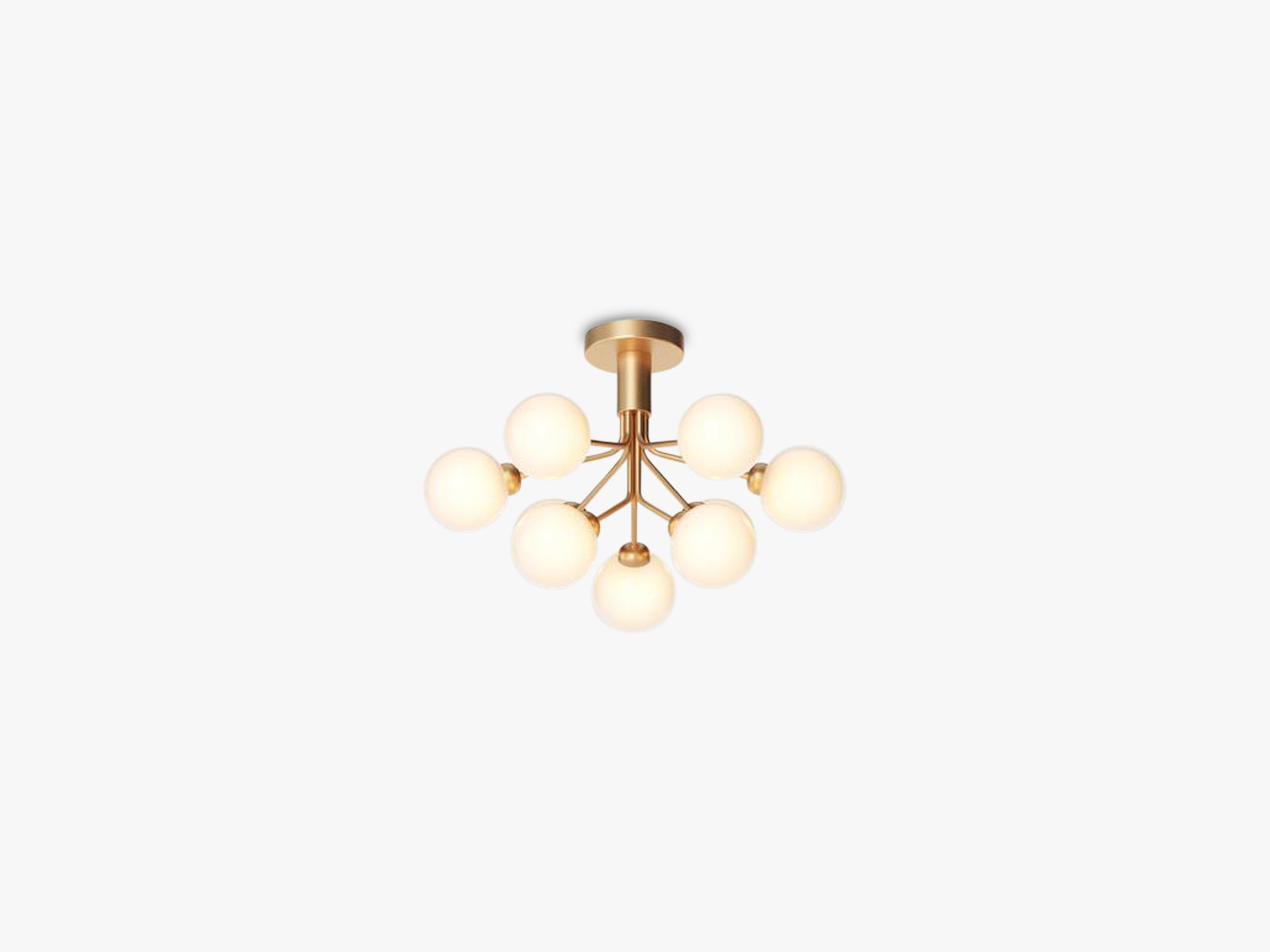 Apiales 9 Ceiling, Brushed brass/opal white fra Nuura