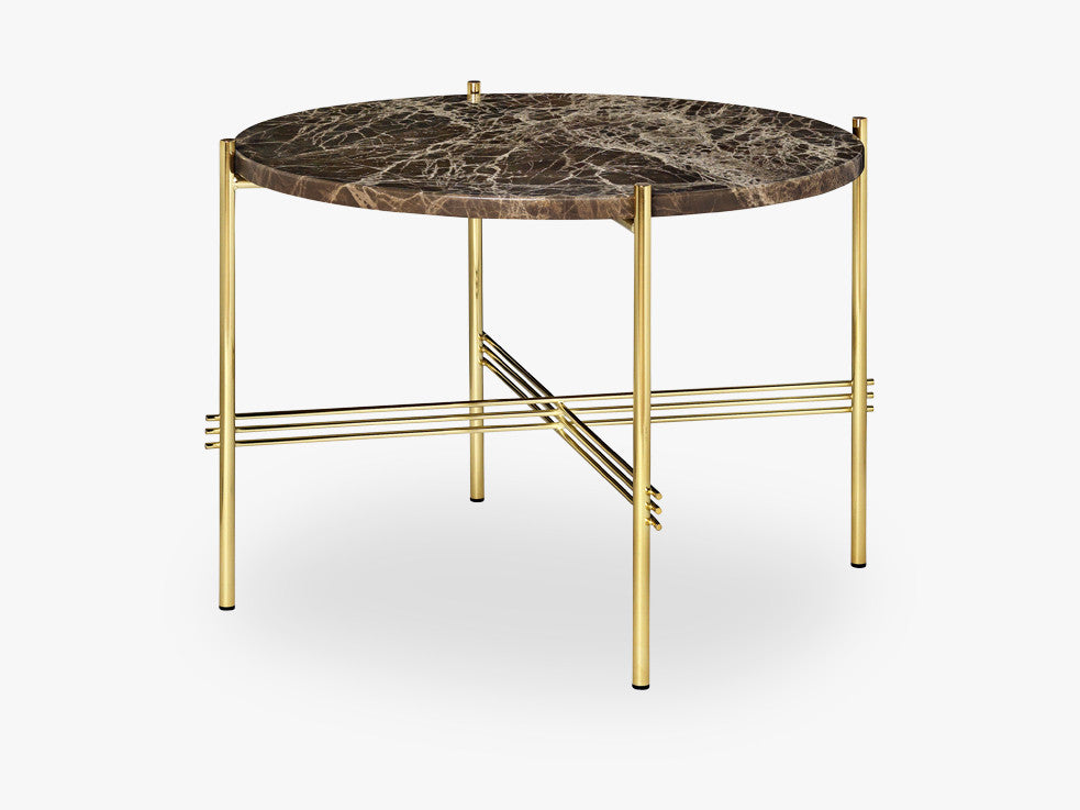 TS Coffee Table - Dia 55 Brass base, marble brown top fra GUBI