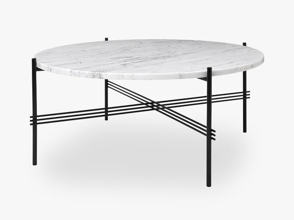 TS Coffee Table - Dia 80 Black base, Marble white top fra GUBI