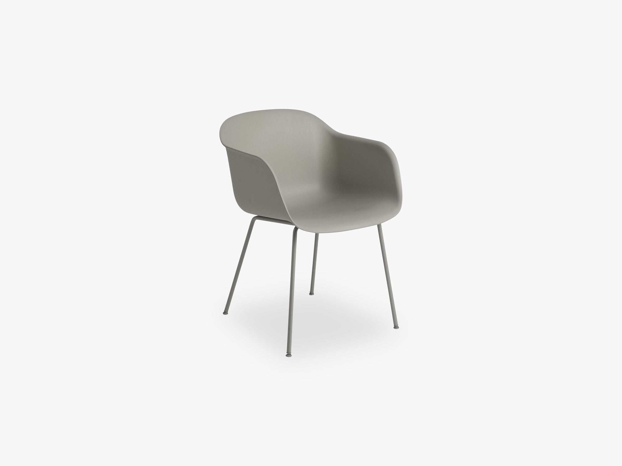 Fiber Armchair - Tube Base - Normal Shell, Grey/Grey fra Muuto