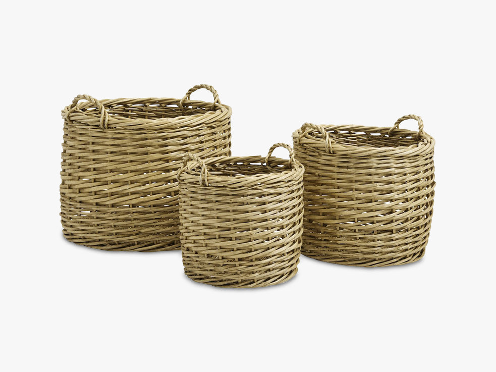 Nature storage baskets, round, S/3 fra Nordal