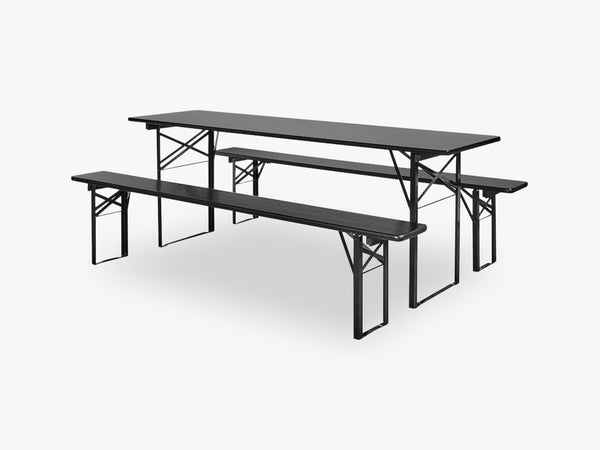 Table/bench set, black s/3, L fra Nordal