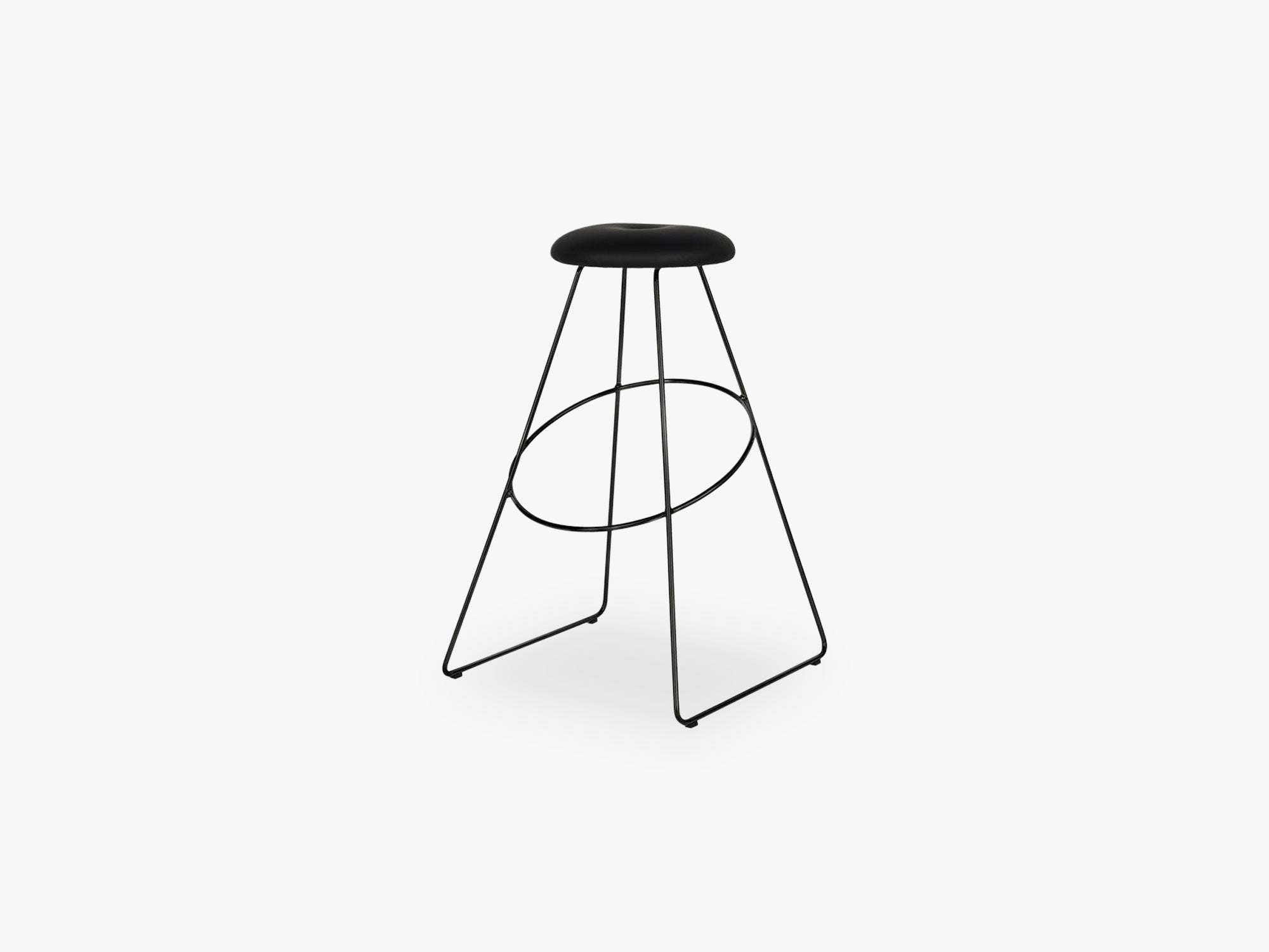 Clown Barstool, sort base m sort læder seat fra Design By Us