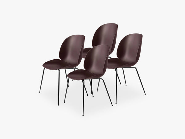 Beetle Dining Chair 4 pcs - Conic Black Matt Base, Dark Pink fra GUBI