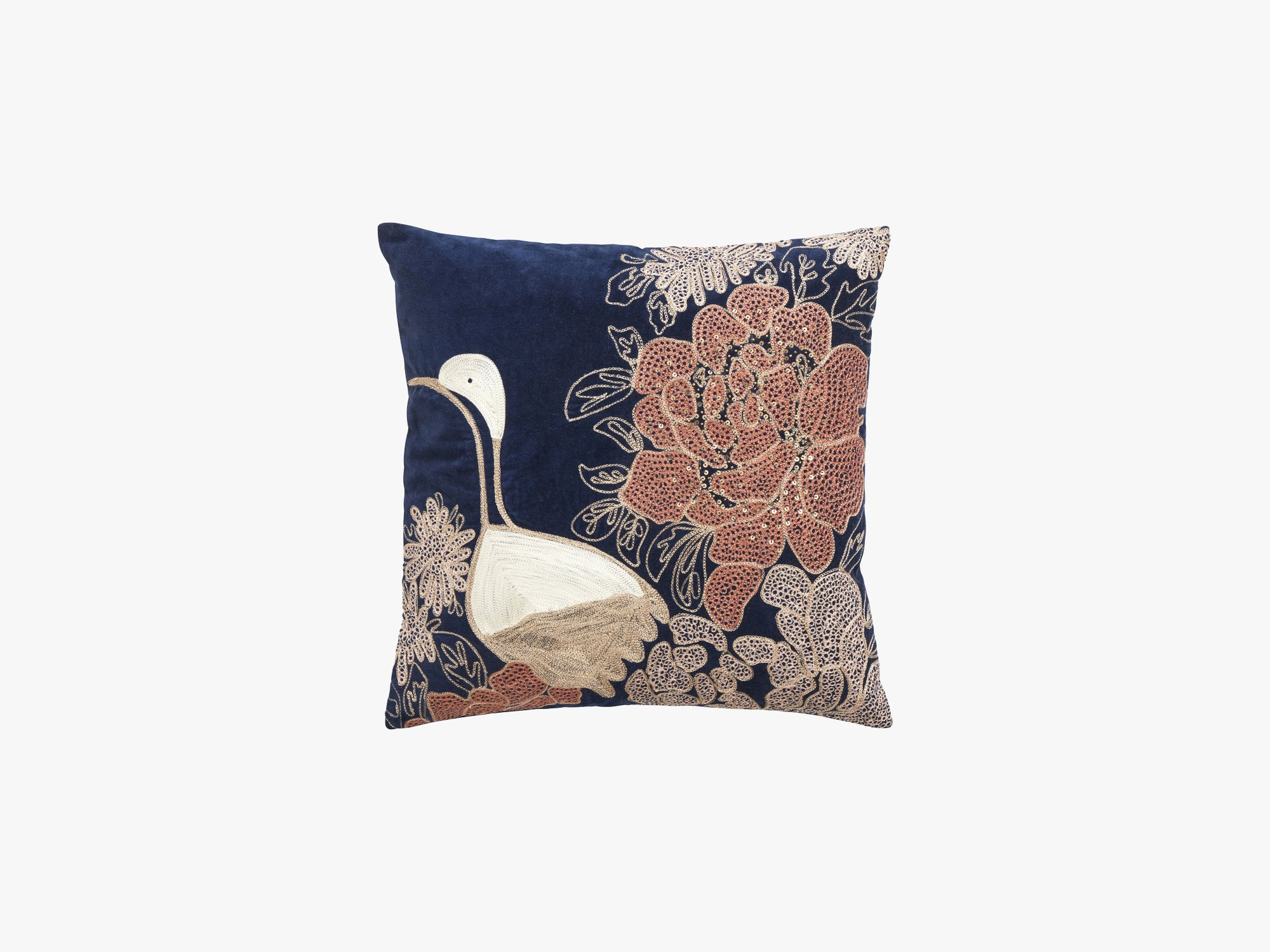 Cushion cover w/embr bird, dark blue fra Nordal