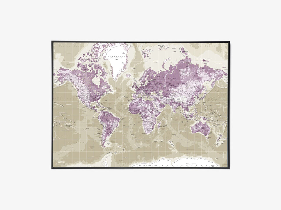 Worldmap Canvas, H115, Purple fra Incado
