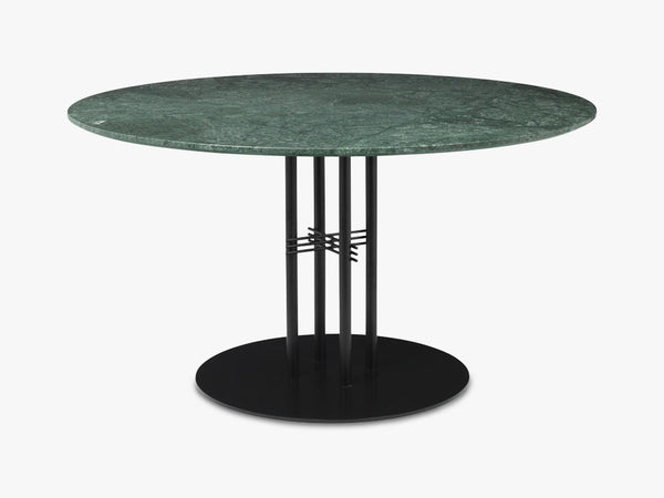 TS Column - Lounge table - Dia 130 Black base, Marble green top fra GUBI