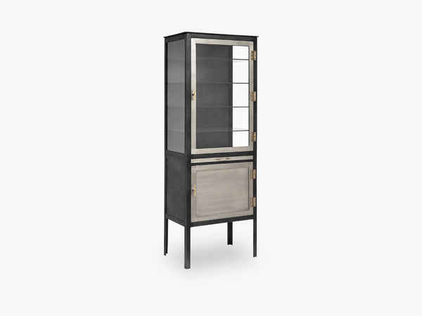 Glass cabinet w/2 doors, iron, grey fra Nordal