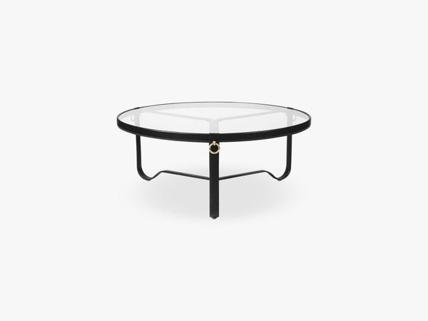 Adnet Coffee Table - Ø100, Black Leather fra GUBI