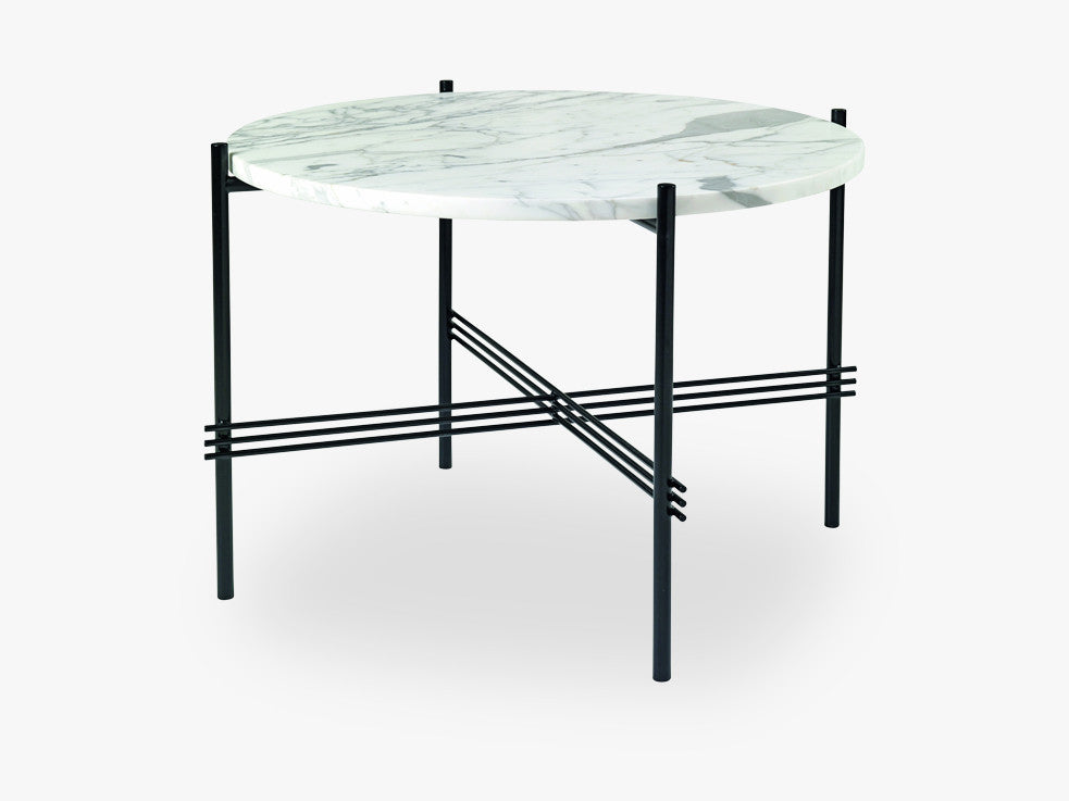 TS Coffee Table - Dia 55 Black base, Marble white top fra GUBI