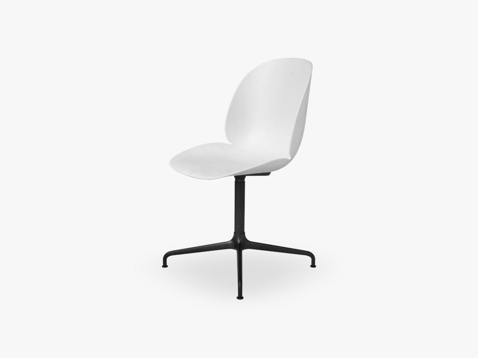 Beetle Meeting chair - Un-upholstered - 4-star swivel Black base, White shell
