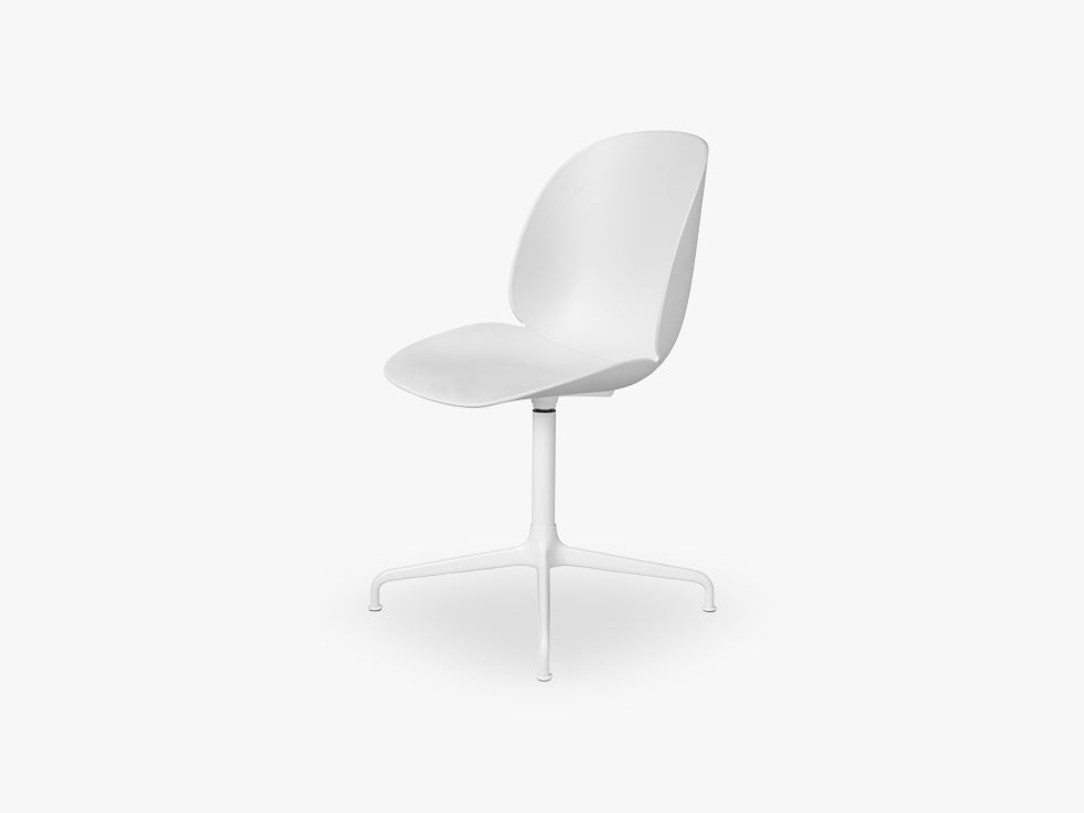 Beetle Meeting chair - Un-upholstered - 4-star swivel White base, White shell