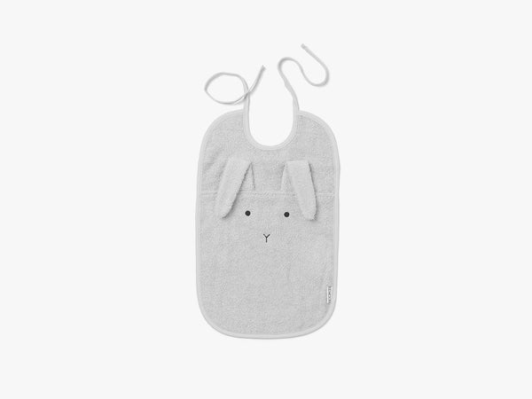 Theo Terry Bib Rabbit Solid, Dumbo Grey fra Liewood