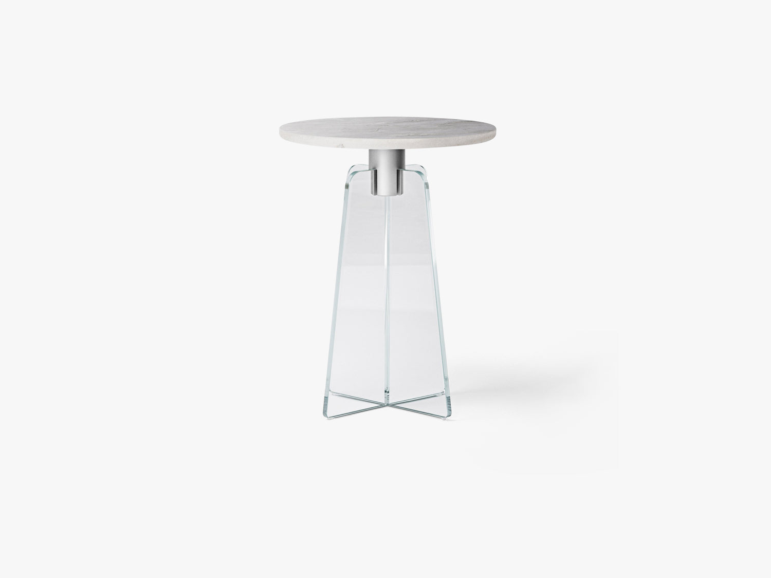Cupola Side Table, Clear Glass/Grey Marble fra MILLION