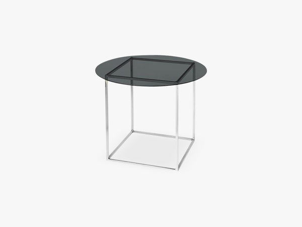 Bord Freddy Jern/glas Top, nickel/smoke glass top fra Broste Copenhagen