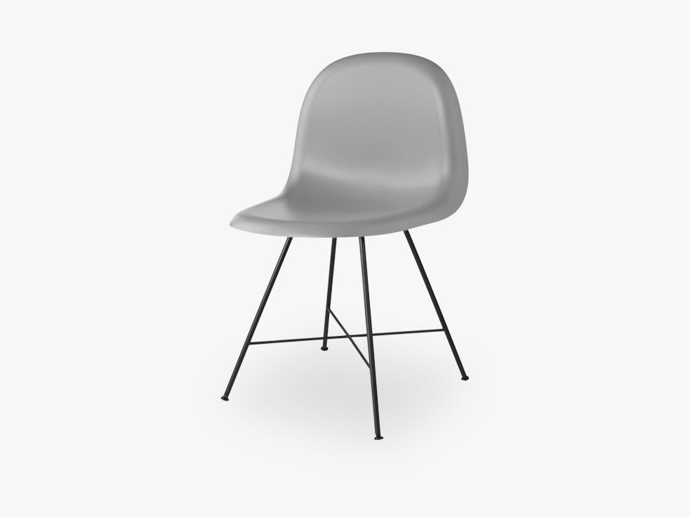 3D Dining Chair - Un-upholstered Center Black base, Rainy Grey shell fra GUBI