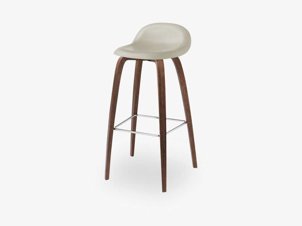 3D Bar Stool - Un-upholstered - 75 cm American Walnut base, Moon Grey shell fra GUBI