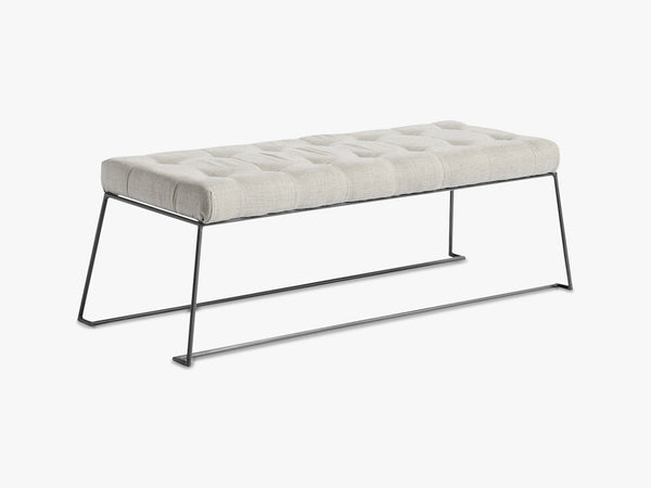 Bench, metal w/linen fabric, nature fra Nordal
