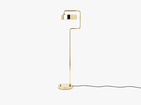Petite Machine Floor Lamp, Polished Brass fra Made By Hand