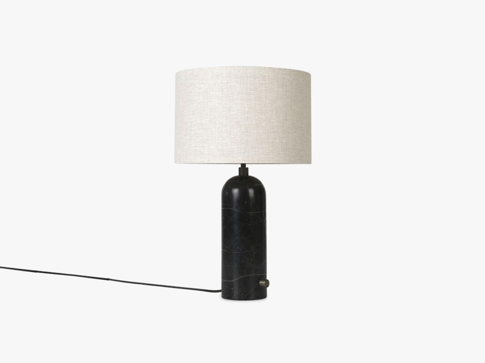 Gravity Table Lamp Small - Black Marble base, Canvas shade fra GUBI