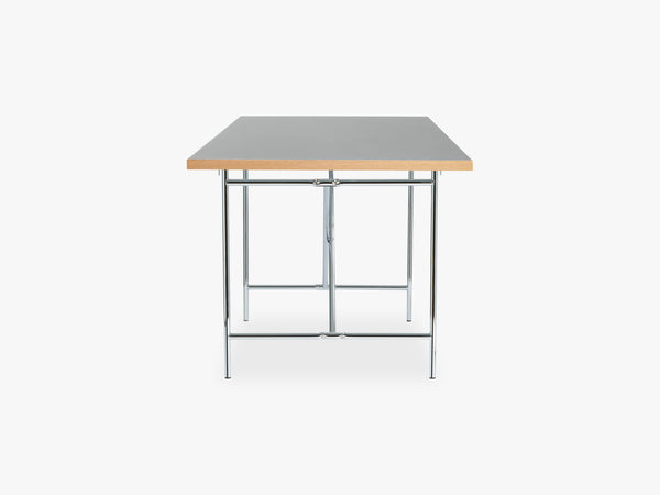 Linoleum Table Top, Grey with Oak Edges fra Egon Eiermann